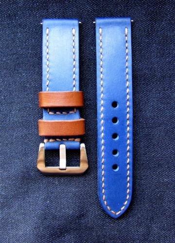 Часовой ремешок handmade синего цвета