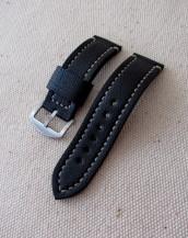 Заказать чёрный кожаный часовой ремешок