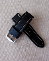 Чёрный кожаный часовой ремешок