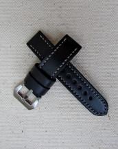 Заказать чёрный часовой ремешок из кожи Horween