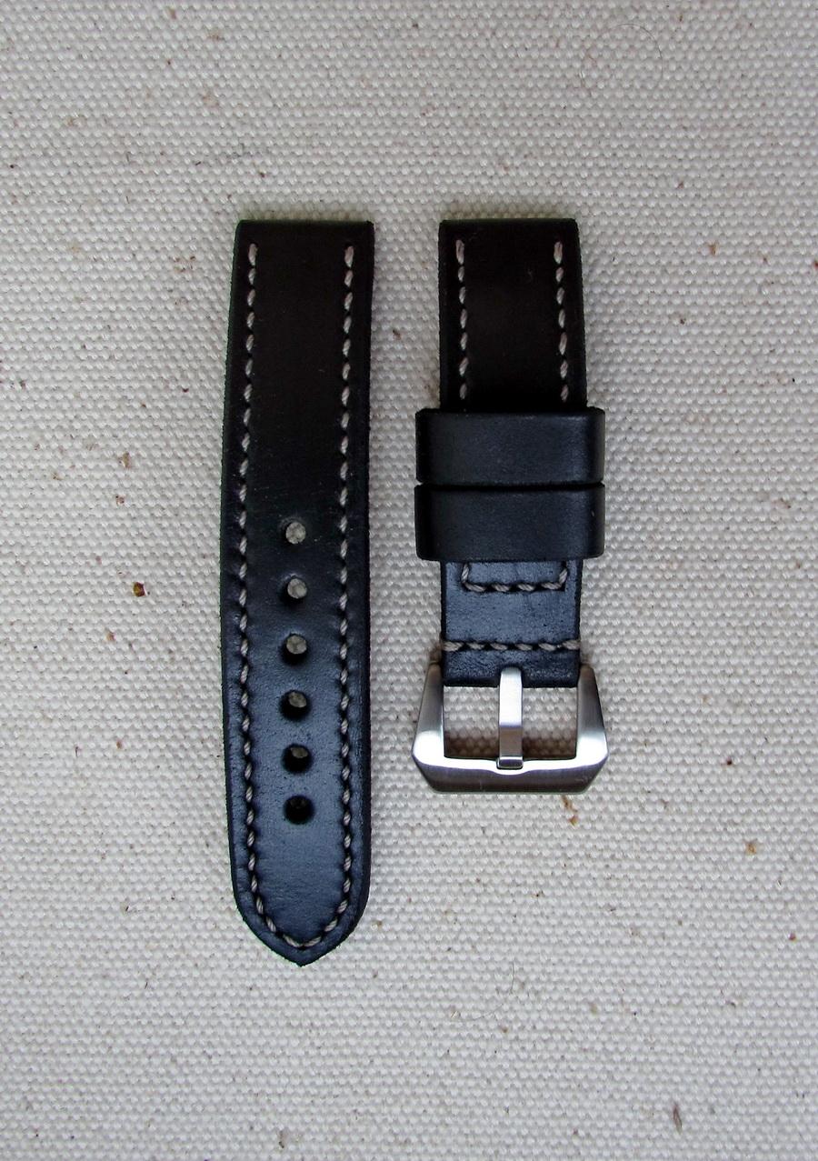 Чёрный часовой ремешок из кожи Horween Chromexel