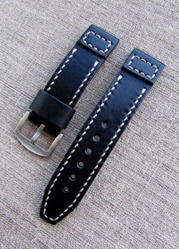 Купить чёрный кожаный ремешок для часов