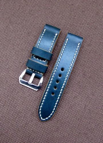 Синий ремешок для часов из натуральной кожи