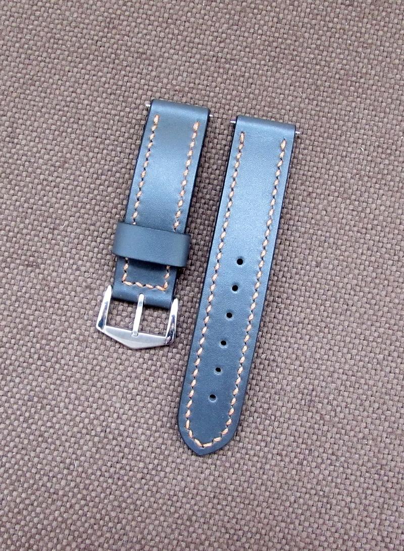 Купить кожаный ремешок для часов серого цвета