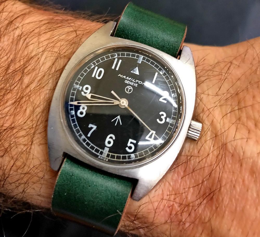 Зелёный ремешок NATO для часов Hamilton