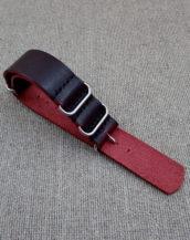 Бордовый ремешок ZULU из Horween, ширина 24 мм.